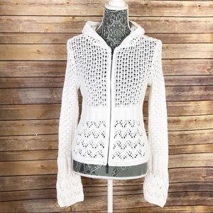 CABI 821 Crochet Boho Hoodie Bell Sleeve Sweater